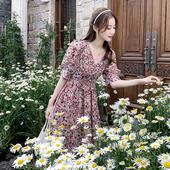 2020新款碎花裙子女中长款桔梗法式雪纺连衣裙夏季显瘦大码长裙