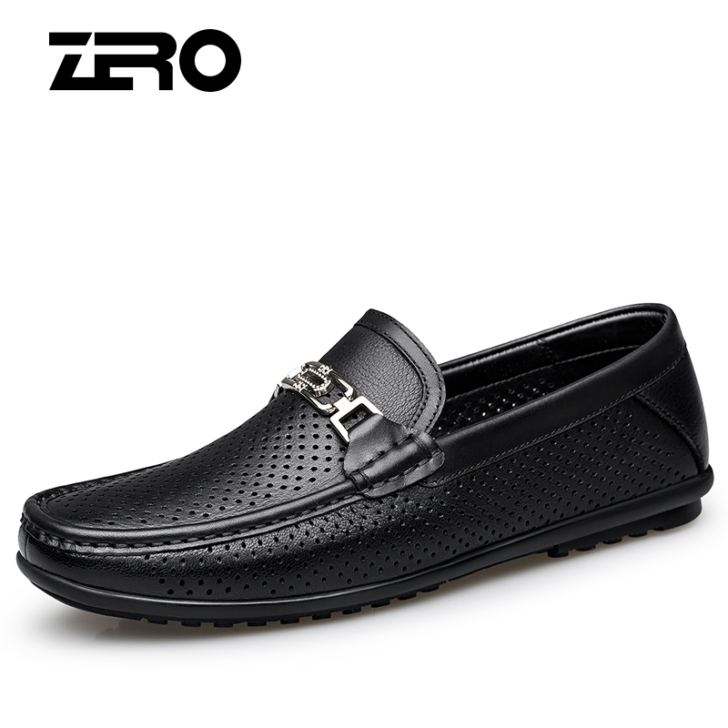Zero degree mens shoes summer breathable hollow leather shoes mens deerskin Korean casual lightweight versatile leather breathable shoes