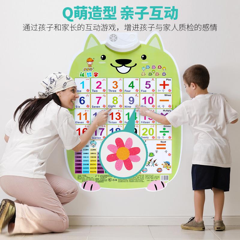 小孩墙贴有声挂图 智力儿童数字认数1至100 看图识字挂图认物早教