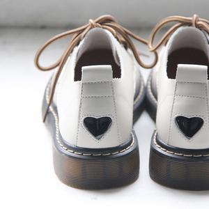 自然卷文艺软妹学生院风平底小白鞋