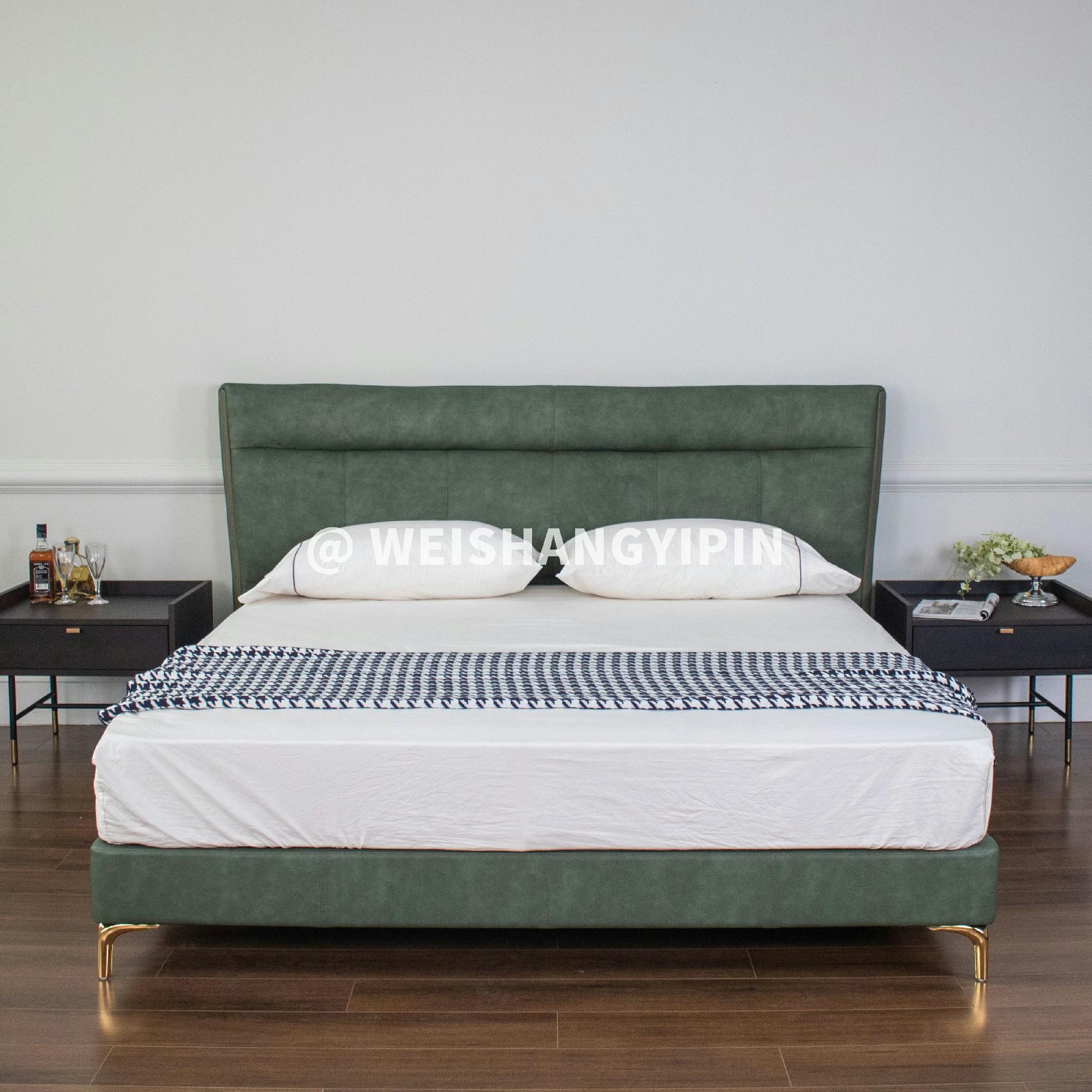现代简约轻奢皮床双人床网红储物软包床皮革墨绿高级玫瑰金脚