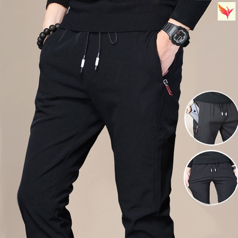 Iron free leisure sports pants mens small foot trend autumn and winter new work clothes low waist wear-resistant slim comfortable