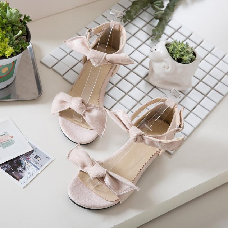 Small fresh suede sweet bow one line sandals womens open toe summer versatile flat shoes sexy womens shoes