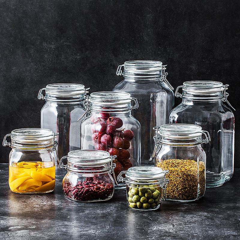意大利进口无铅玻璃密封罐储物罐泡酒广口瓶柠檬蜂蜜泡菜罐子大号
