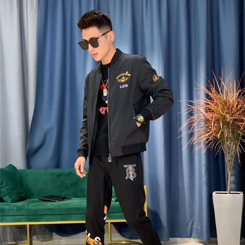Mens casual jacket embroidery trend new jacket spring and autumn Korean slim fit coat sports fashion mens jacket