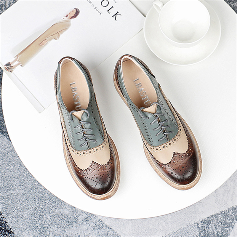 Brock England womens shoes 2019 New Oxford single shoes retro carving college leather lace up womens shoes