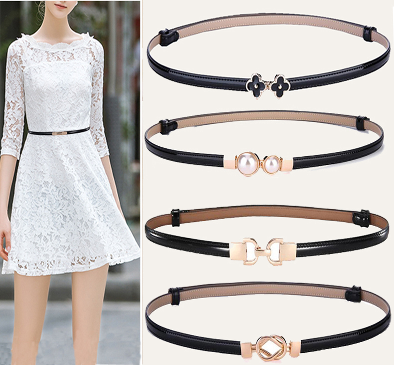 Net red ladys thin belt versatile Leather Adjustable multi color patent leather clover pearl buckle with skirt belt