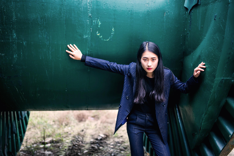 Original temperament Korean version of Navy striped suit coat slim top double breasted Blazer smoking dress female Xia