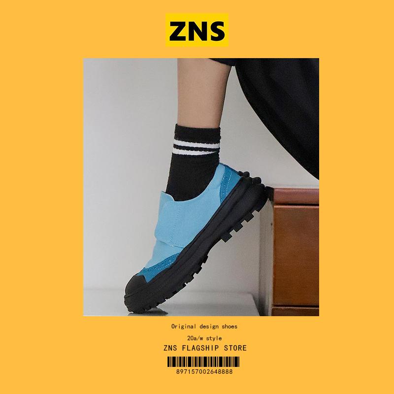 ZNS小众设计松糕底一脚蹬懒人鞋女低帮学生帆布鞋休闲鞋厚底板鞋