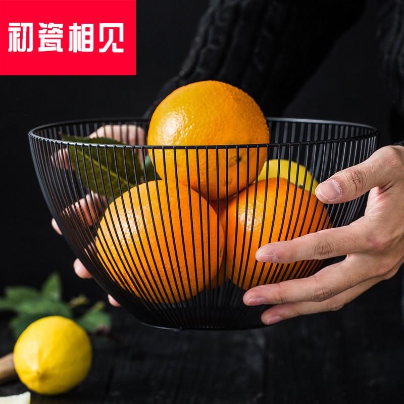 初瓷相见? 铁艺果盆零食盘创意家居收纳篮简约水果篮欧式客厅水果,可领取15元天猫优惠券