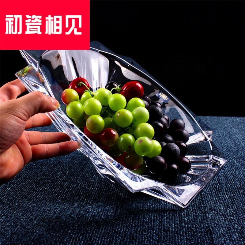 初瓷相见风格创意欧式水晶玻璃水果盘果盆透明果斗干果盘糖果盘子,可领取50元天猫优惠券