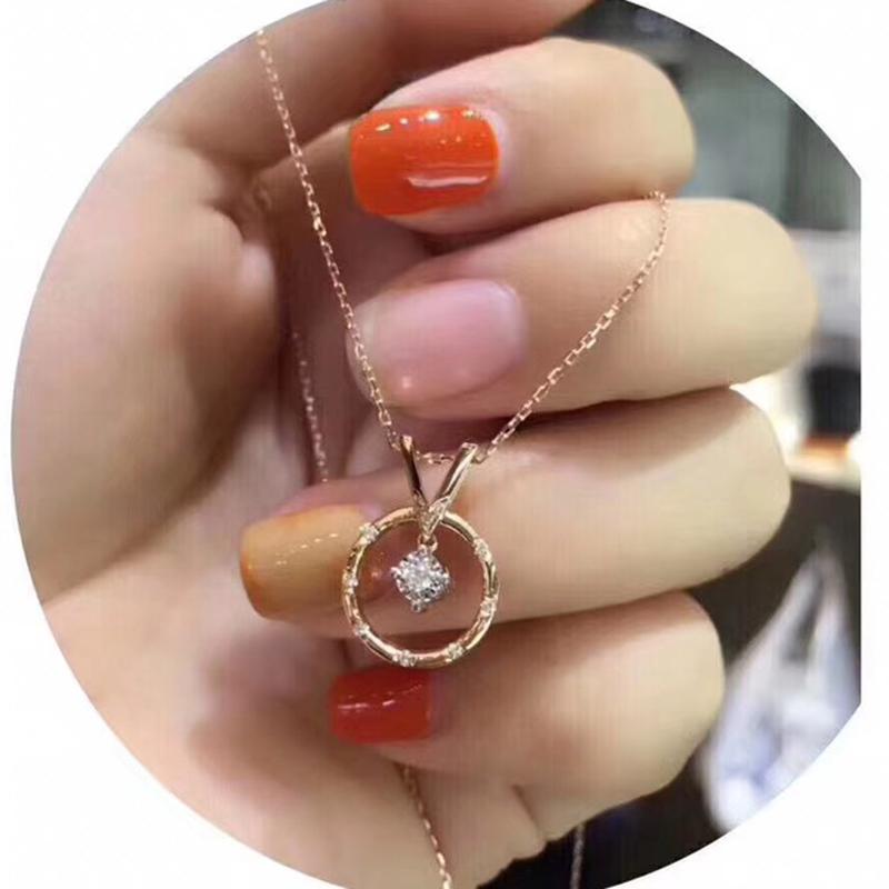 Подлинный 18K из розового золота алмаз подвески ожерелье ключицы цепи женщина кальмар алмаз ожерелье женщина мода утонченность