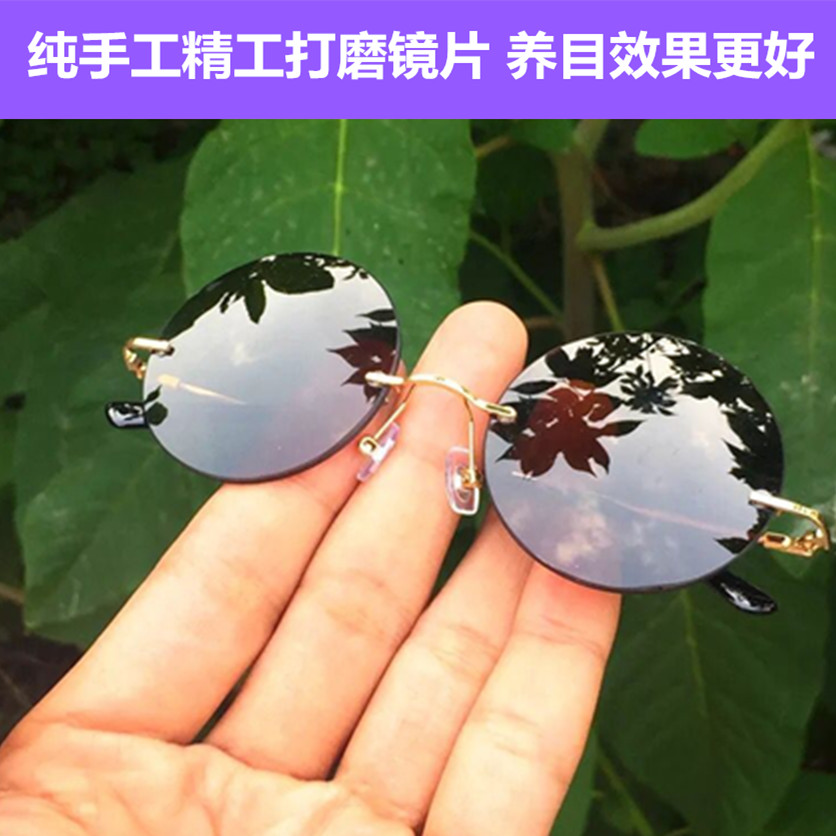 New natural crystal retro rimless round sunglasses for men and women