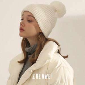 【显脸小】冬纯白色竖条保暖毛线帽
