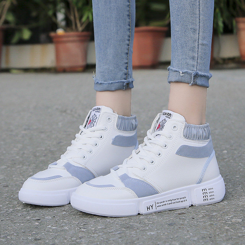 Official official womens shoes authentic autumn and winter high top sports casual running white travel shoes