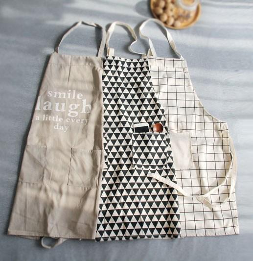 日式围裙简约棉麻成人厨房工作 咖啡馆画室面包店男女时尚围裙