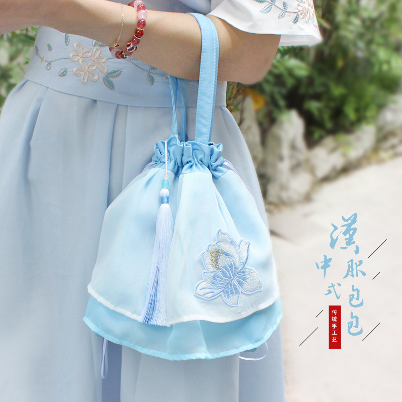Original Hanfu bag accessories double Chiffon fairy portable single shoulder embroidery handbag antique large capacity bag