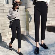 秋季休闲西装裤女显瘦小脚宽松九分裤高腰直筒烟管黑色大码小西裤