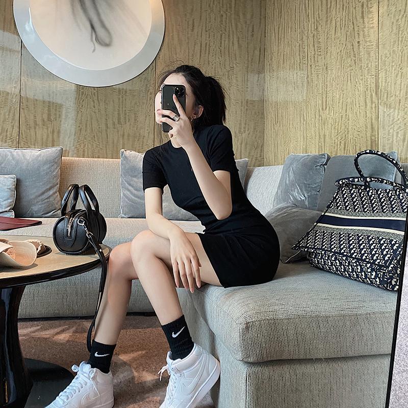 SUN11 短袖厌世风针织T恤裙女2020夏季新款圆领修身包臀连衣裙图片