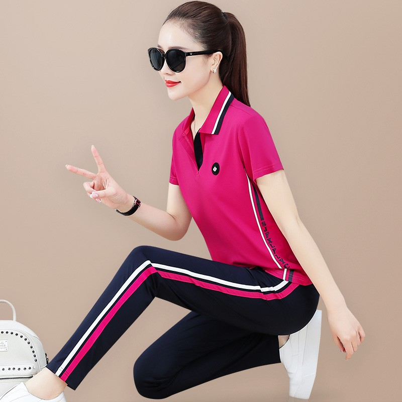 Famous brand Lapel mother sportswear womens summer running large size slim slim ice silk short sleeved trousers leisure suit two