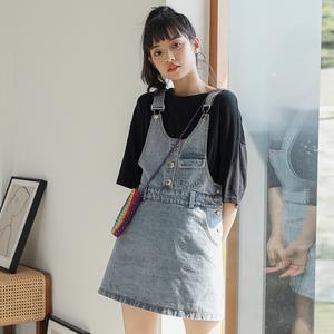 背带裙女夏2020年新款小个子连衣裙外搭学生短裙潮ins浅色牛仔裙