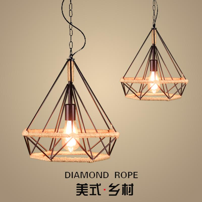 美式乡村麻绳灯工业风复古铁艺吊灯创意loft吧台餐厅钻石鸟笼吊灯