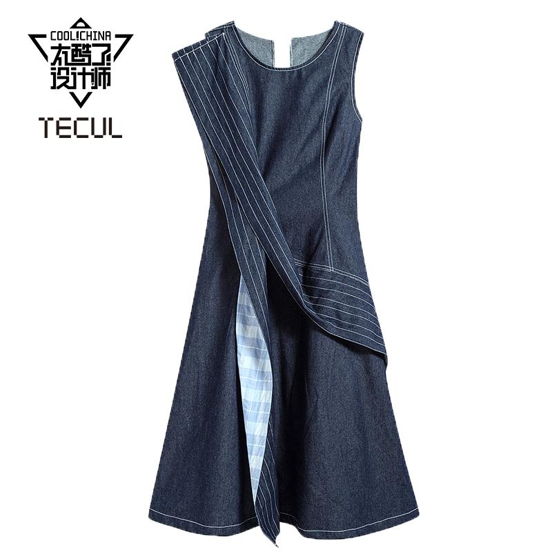 Tecul is so cool, designers show the same fashion brand niche womens dress with ruffle Denim Long Dress