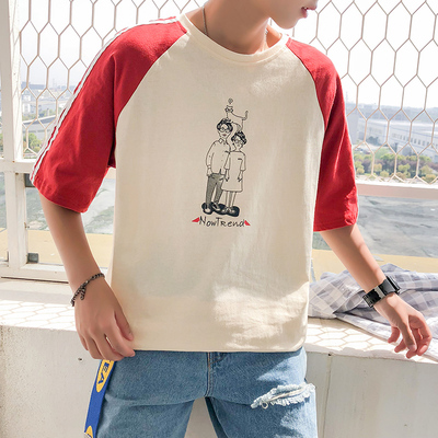 2018拼色圆领卡通印花宽松时尚短袖青少年T恤A209-W617-P35