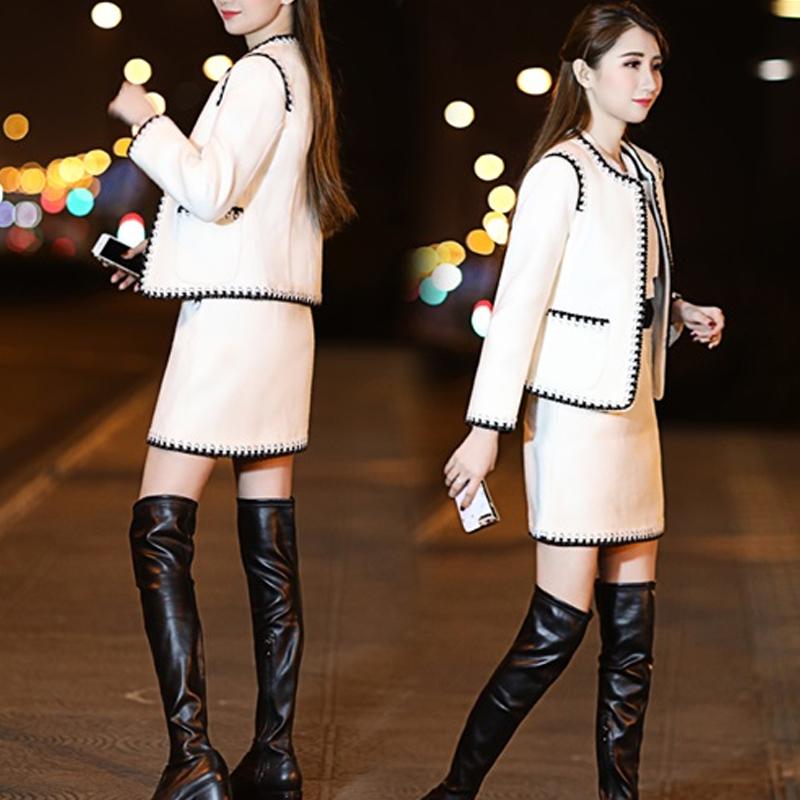 (用10元券)2019春秋新款女装小香风套装连衣裙时尚气质显瘦洋气女神范两件套