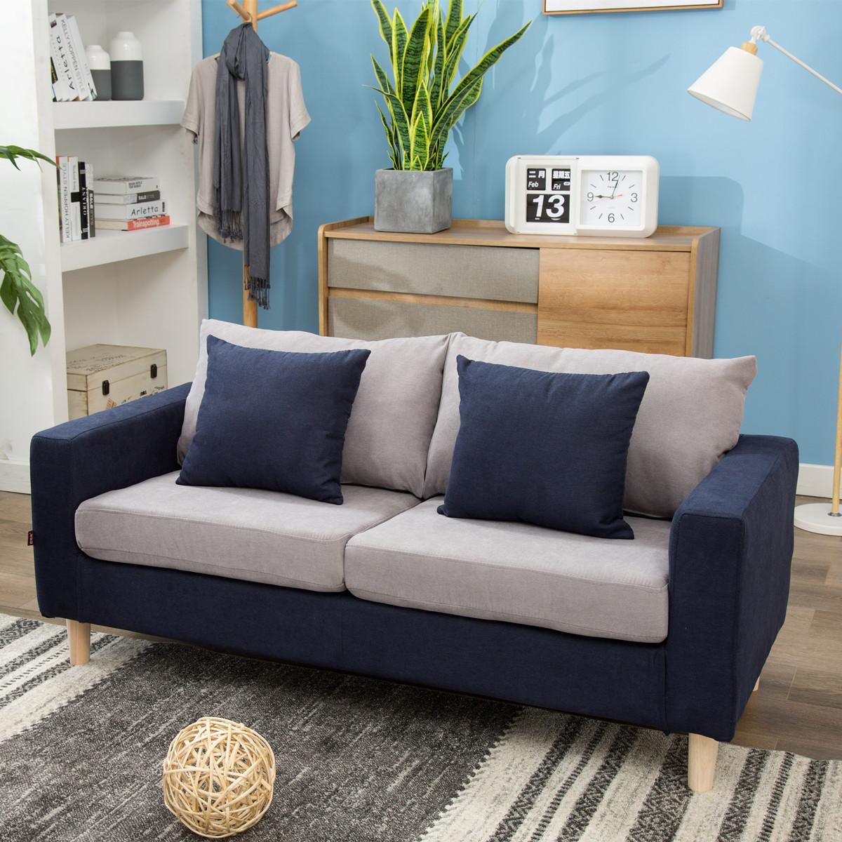 (用299元券)北欧风格简约现代布艺拆洗日式小户型公寓咖啡店整装三人双人沙发