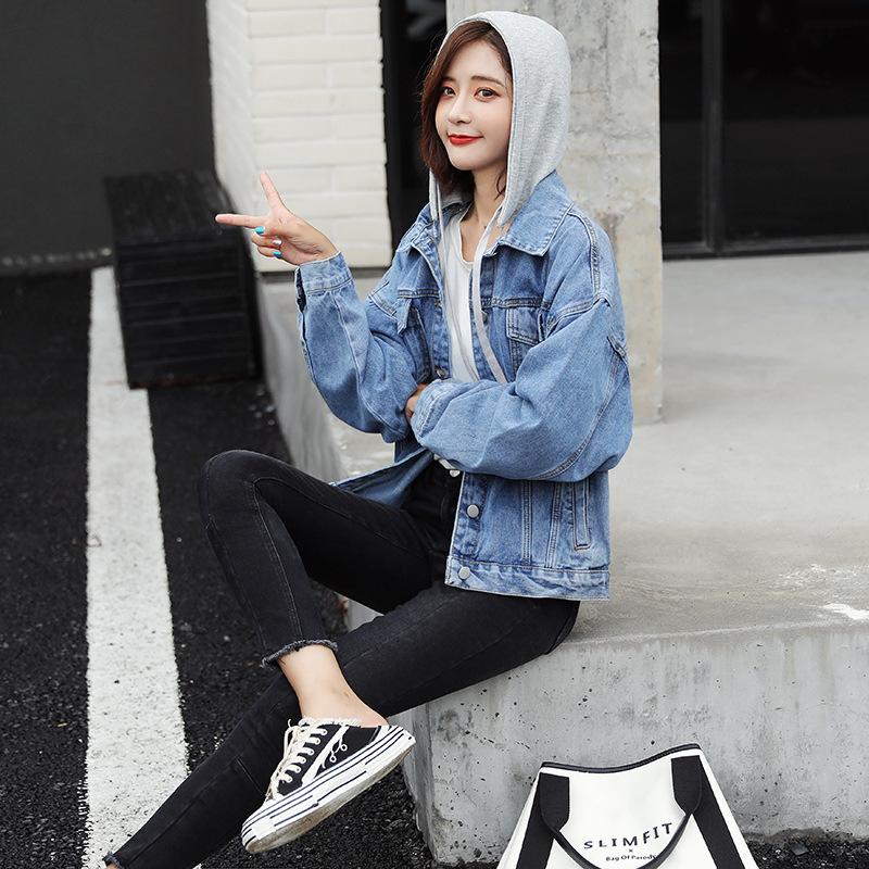Denim Jacket Womens 2021 spring new detachable hooded casual loose thin Korean Jacket Top Fashion