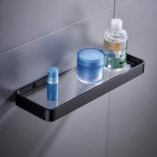镜前置物架 浴室洗漱台钢化玻璃隔板 卫生间厕所单层镜下托盘壁挂