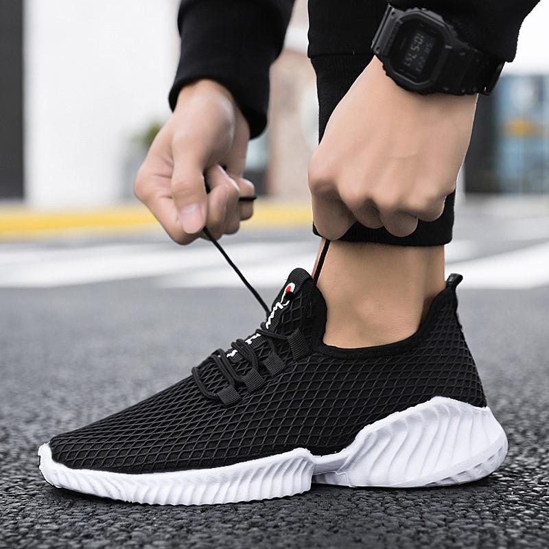 宾克文夏季网面健身慢跑运动鞋软底休闲百搭透气飞织男鞋学生潮