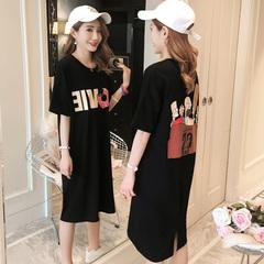 2019春季新款韩版卡通图案黑色连衣裙女装宽松中长款短袖T恤裙夏