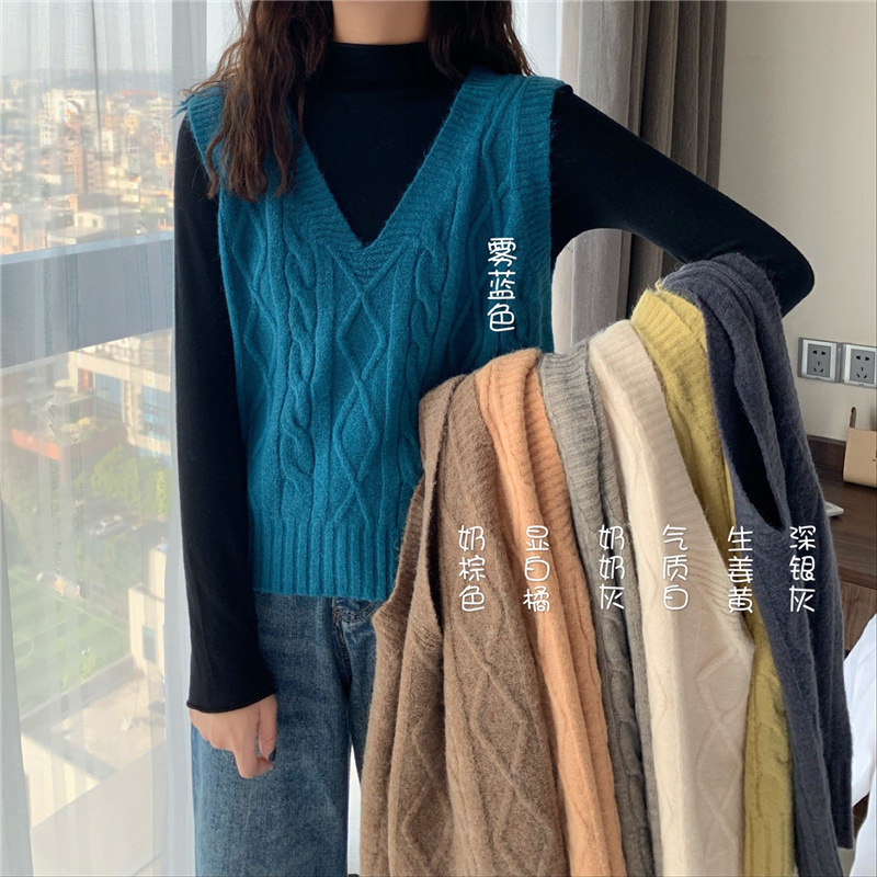 V-neck twist knitted vest womens autumn winter 2020 new Korean loose and versatile solid color sleeveless vest sweater