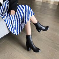 查看MM6真皮中筒靴子女猪蹄踝靴2021新款小众分趾鞋设计粗跟高跟短靴价格