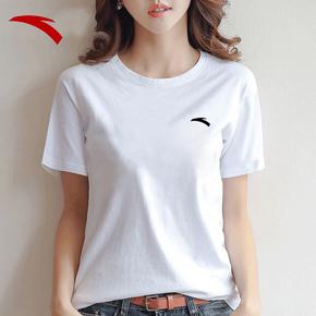 安踏女士白色T恤宽松纯棉夏季女装2021新款打底衫百搭圆领女短袖