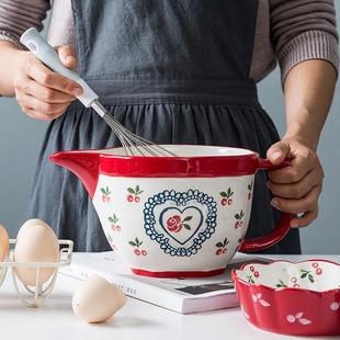 网红陶瓷碗搅拌碗家用沙拉碗打蛋碗厨房面糊碗尖嘴碗带手柄大容量图片