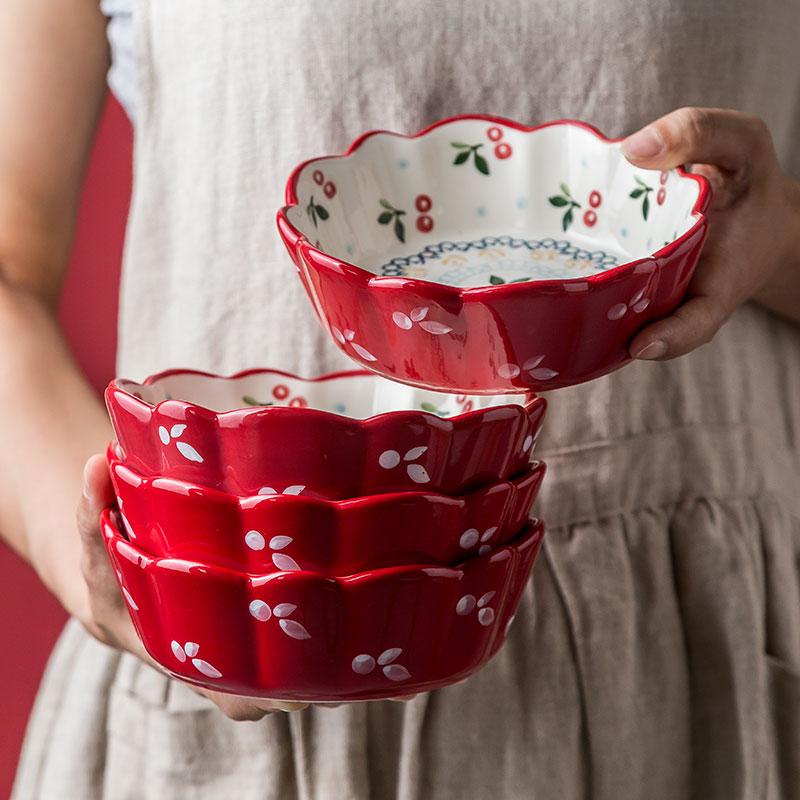 日式餐具可爱陶瓷水果沙拉碗饭碗网红ins面碗樱桃碗创意个性家用 thumbnail
