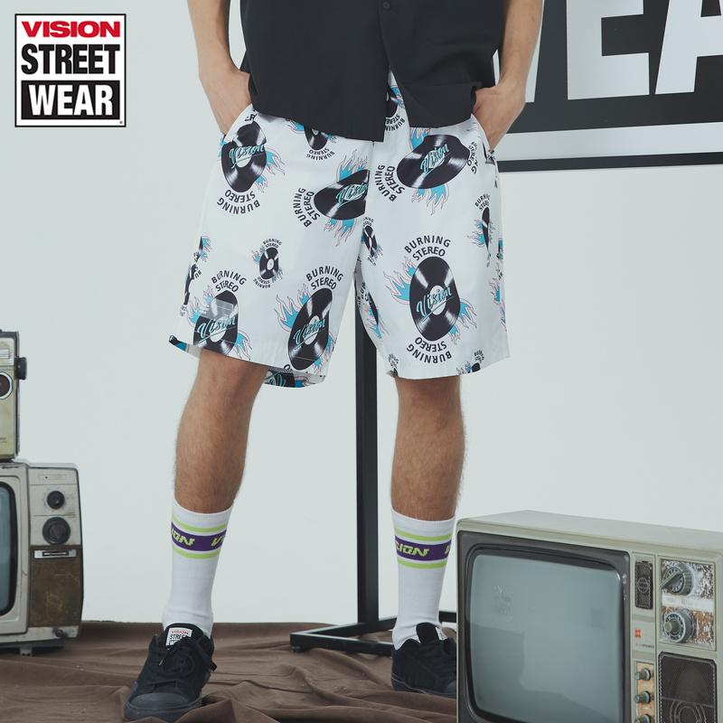VISION STREET WEAR新款满印音乐元素休闲梭织裤男V192ME3061