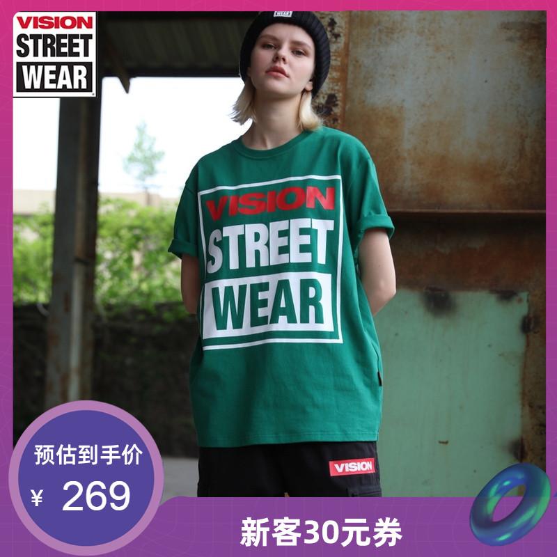 VISION STREET WEAR2019新款LOGO印花情侣款t恤男t恤女V193NC1022