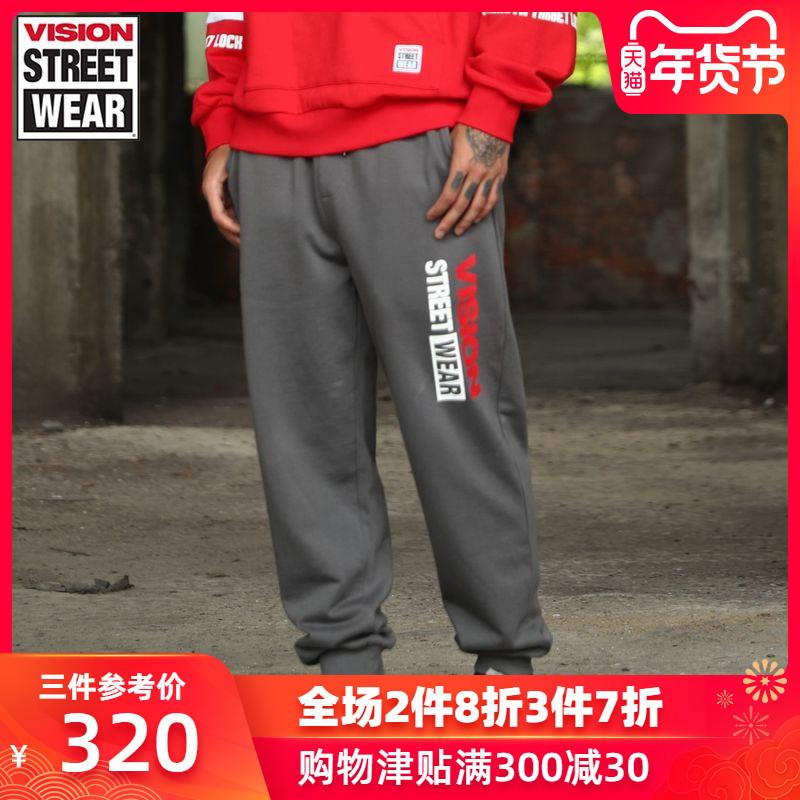 VISION STREET WEAR2019新款字母LOGO印花?#20449;?#21516;款裤子V193ND4035