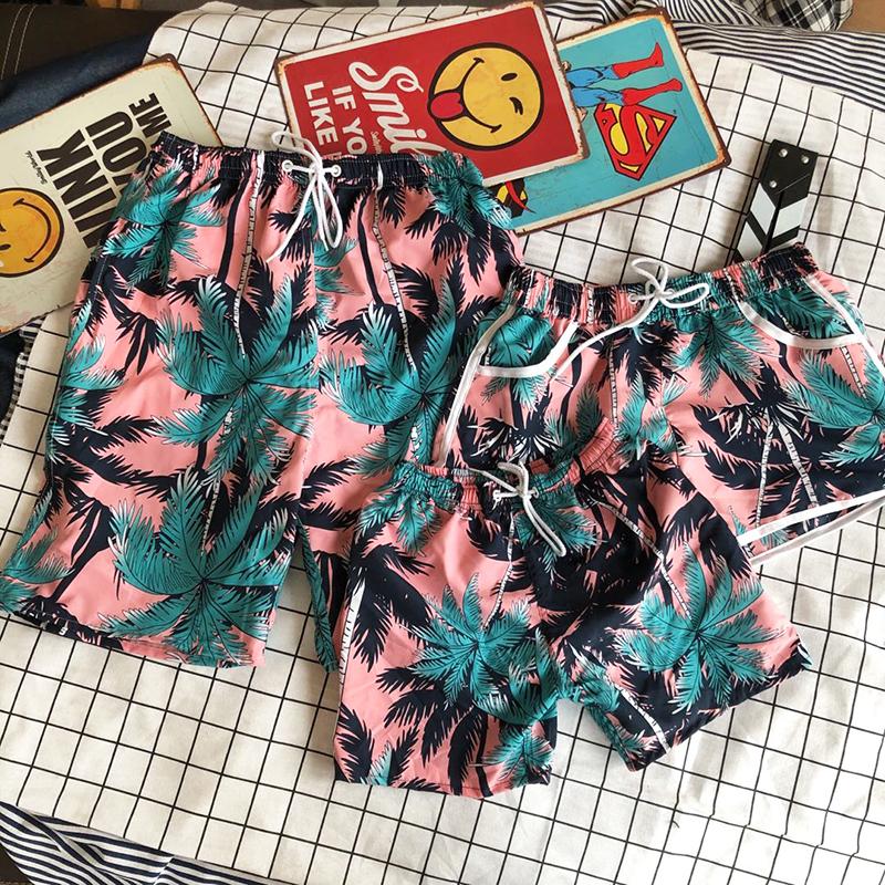 亲子裤夏母女沙滩短裤亲子裤一家三口四口套装海边宽松速干父子装