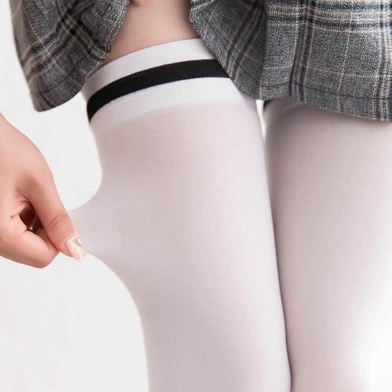 Lengthened velvet antiskid knee socks spring and summer soft sister high tube silk stockings black and white silk cos thigh stockings