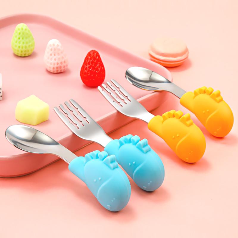 宝宝学吃饭勺子短柄婴儿童不锈钢把餐具卡通小宝宝辅食碗训练叉勺