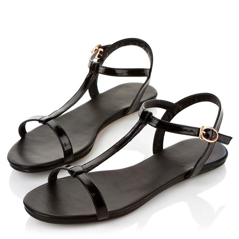平底平跟凉鞋女一字扣T带时尚罗马性感简约百搭软底防滑露趾凉鞋