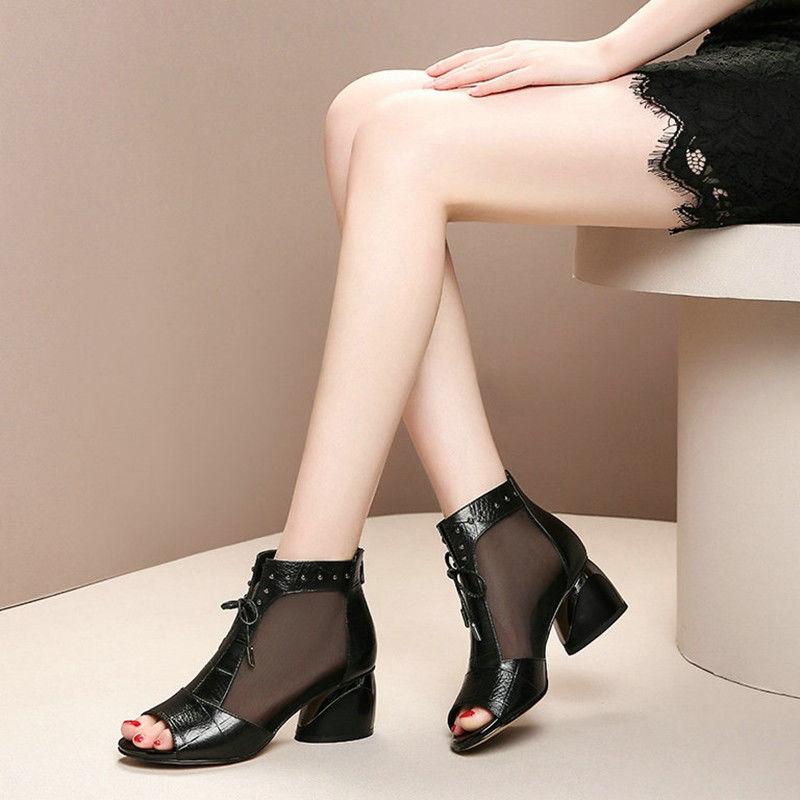 夏季鞋子女粗跟鱼嘴凉鞋女鞋中跟新款凉靴透气网纱夏天女士高跟鞋