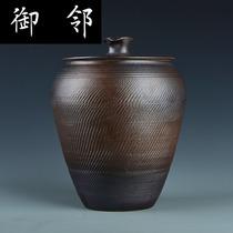 茶叶罐粗陶柴烧德化陶瓷�F泥手拉胚长形茶叶罐手工特制