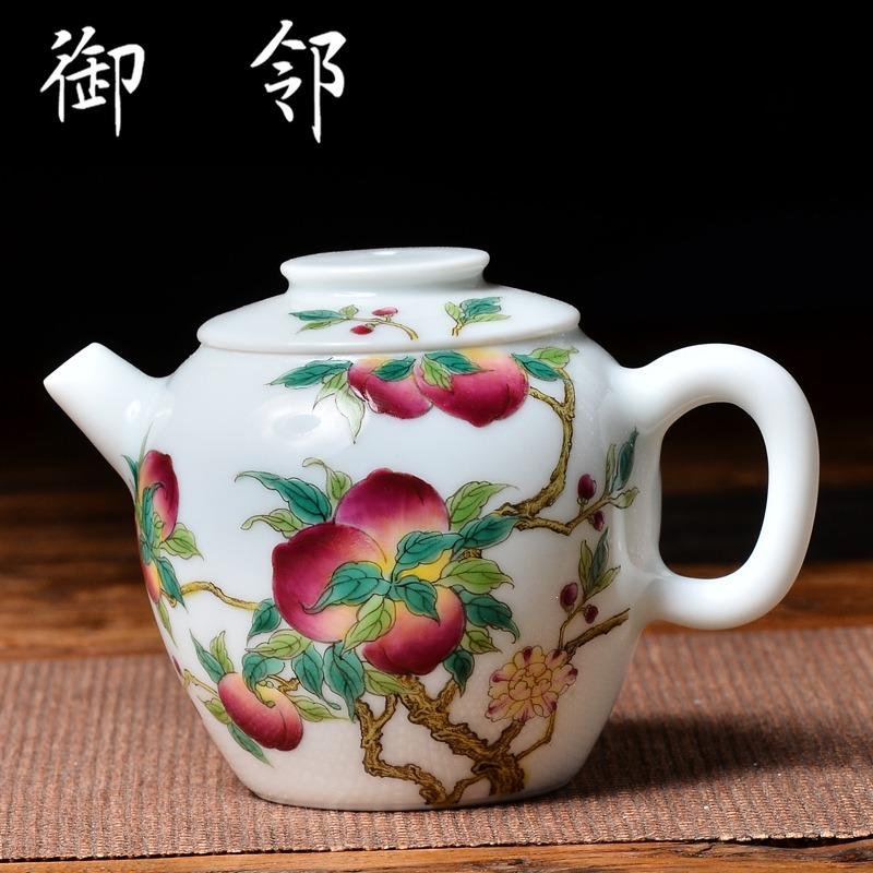 围鹿|精作 大雅万寿无疆纯手绘粉彩炮口巨轮珠壶 粉彩 茶壶泡茶器