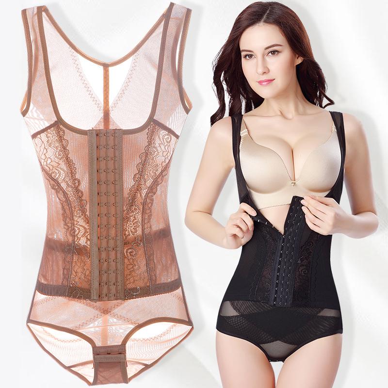 塑身衣夏季收腹束腰塑形养生美体强力排扣薄款连体显瘦束身内衣女